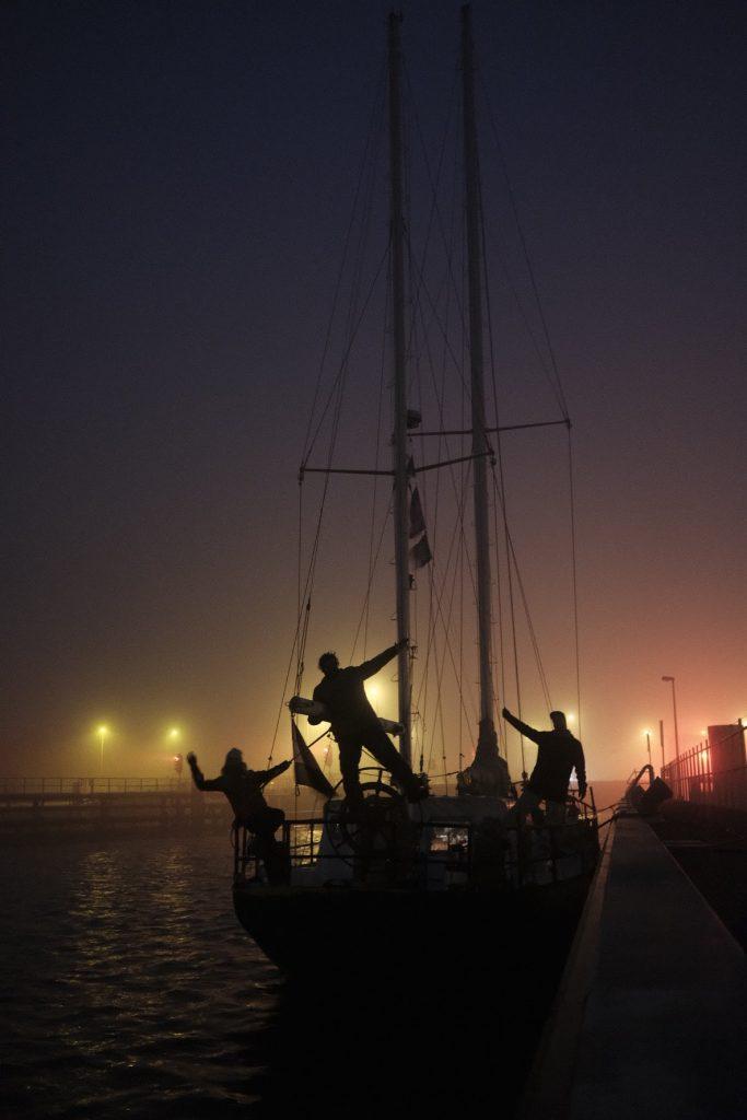 Crew op het schip 'Windfall'