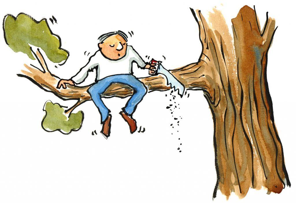 Illustratie van man die de tak waarop hij zit doorzaagt